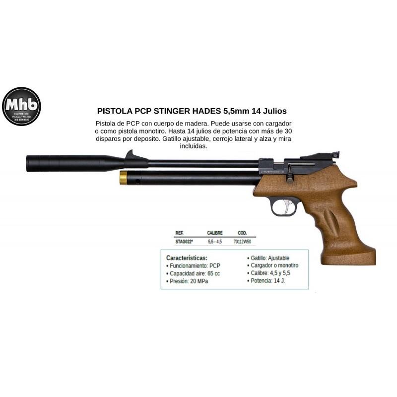 PISTOLA PCP STINGER HADES 5,5mm 14 Julios